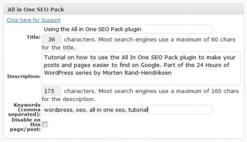 All In One SEO Pack for posts