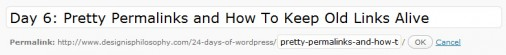 Changing a post permalink in WordPress