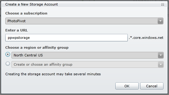 Create New Storage Account dialog