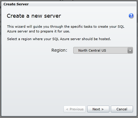 Create New Server step 1