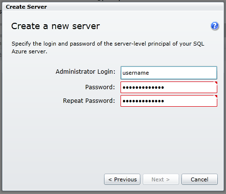 Create New Database Server step 2