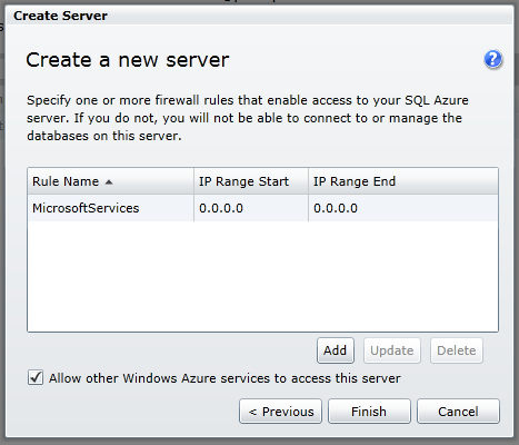 Create New Database Server step 3